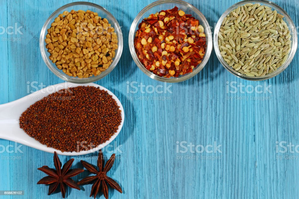 Panch Phoran spices stock photo