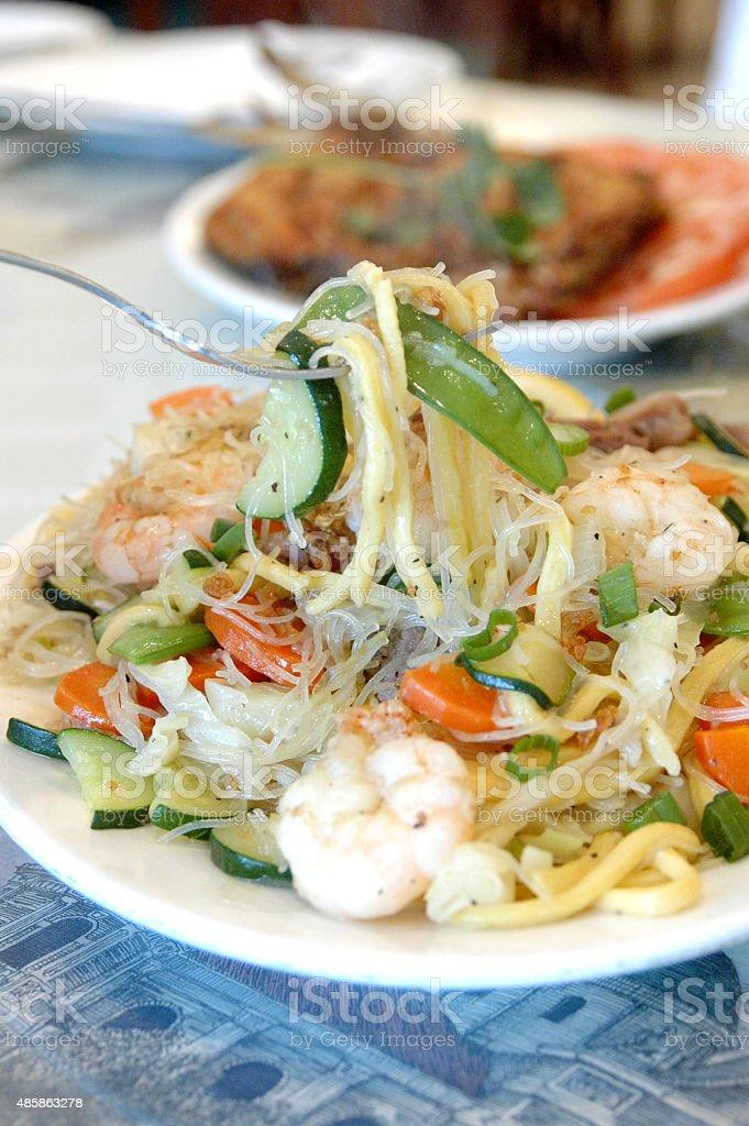pancit noodles stock photo