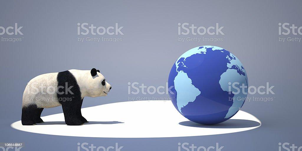 panda and the earth royalty-free stock photo