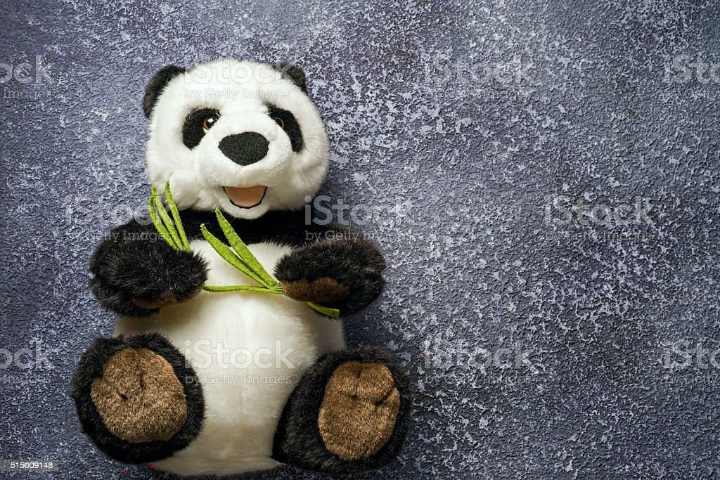 Panda bear doll on grey background. Toy for child. stock photo