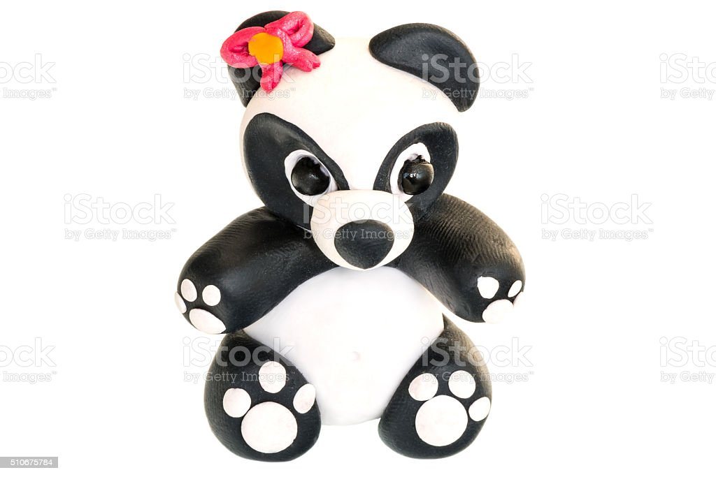 Panda figurine made of polymer clay on a white background stock photo