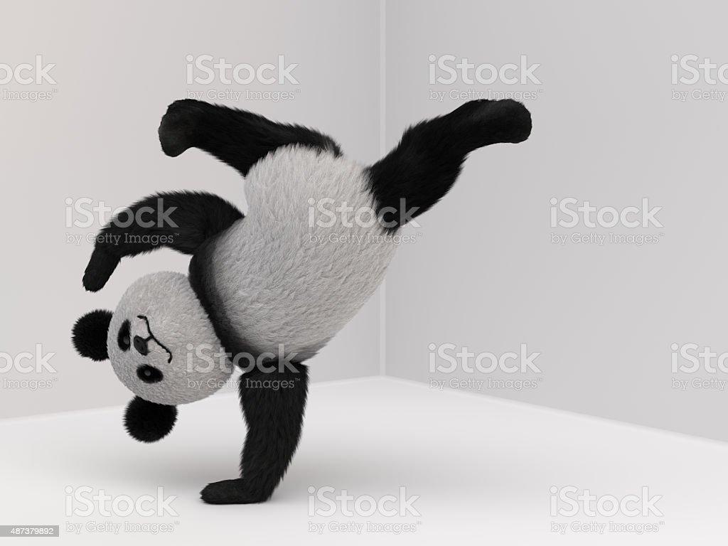 panda fluffy mascot 3d stock photo