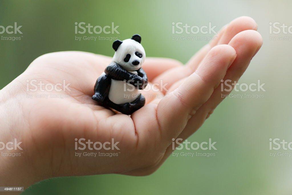 Panda toy on palm stock photo