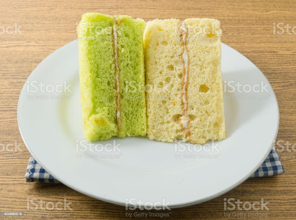 Pandan and Vanilla Chiffon Cake on A Dish stock photo