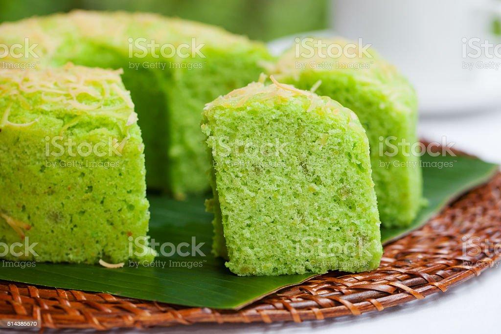Pandan chiffon cake Traditional Indonesian desert Stone background stock photo