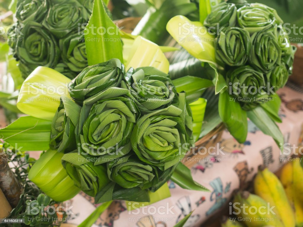 pandan leaves a bouquet of flowers, Thailand stock photo