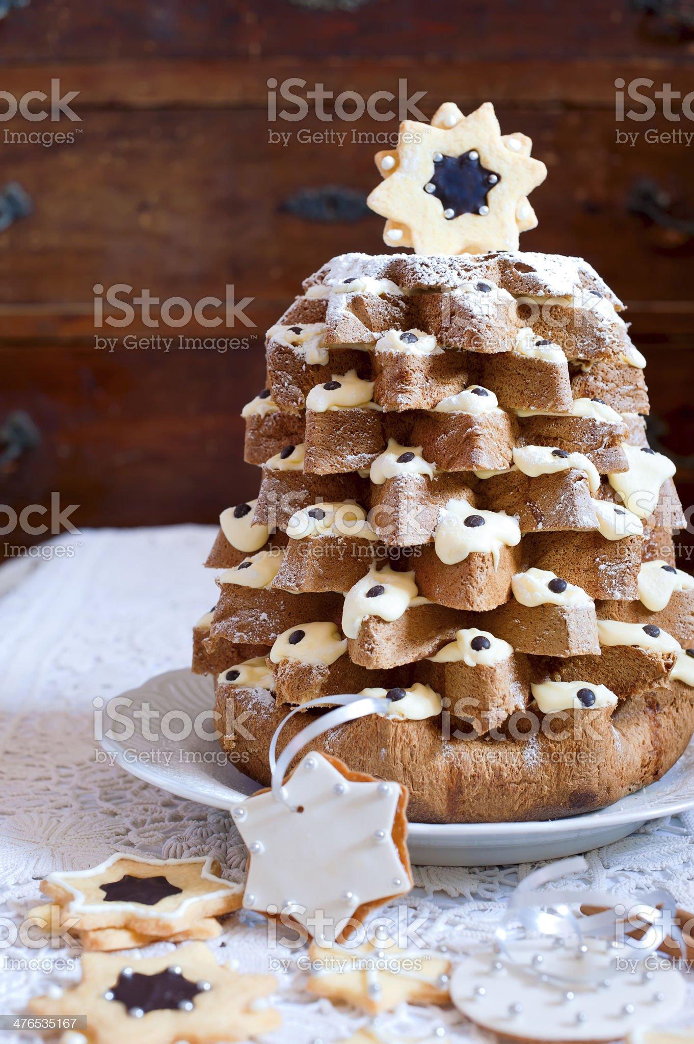 Pandoro Italian sweet christmas tree royalty-free stock photo