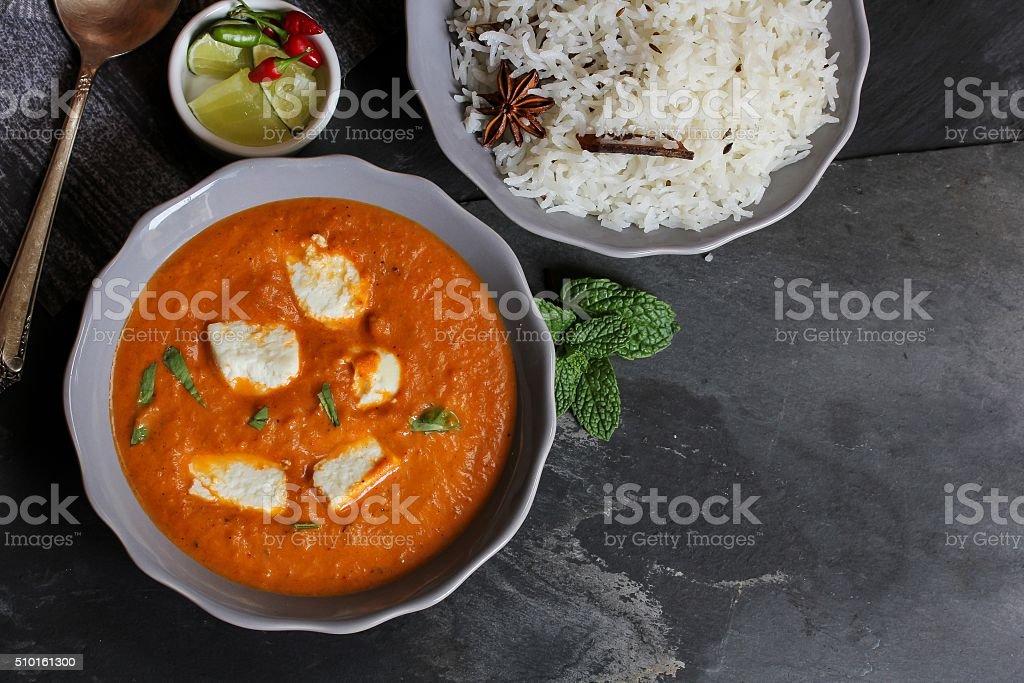 Paneer butter  masala in Kadai Indian cuisine stock photo