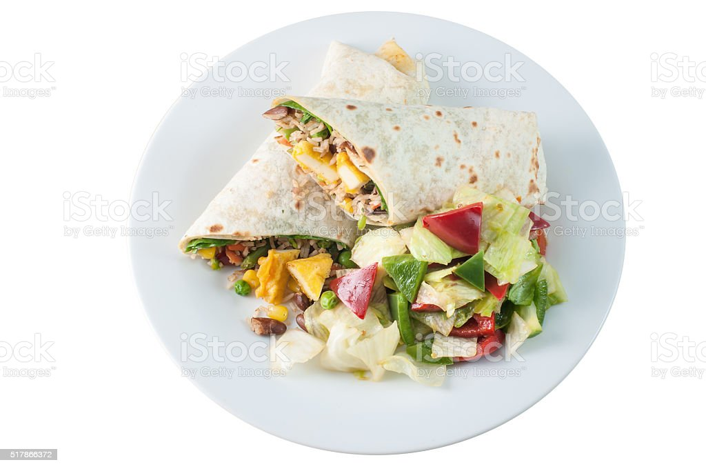 Paneer cheese vegetarian roll or Indian twister in chapati stock photo