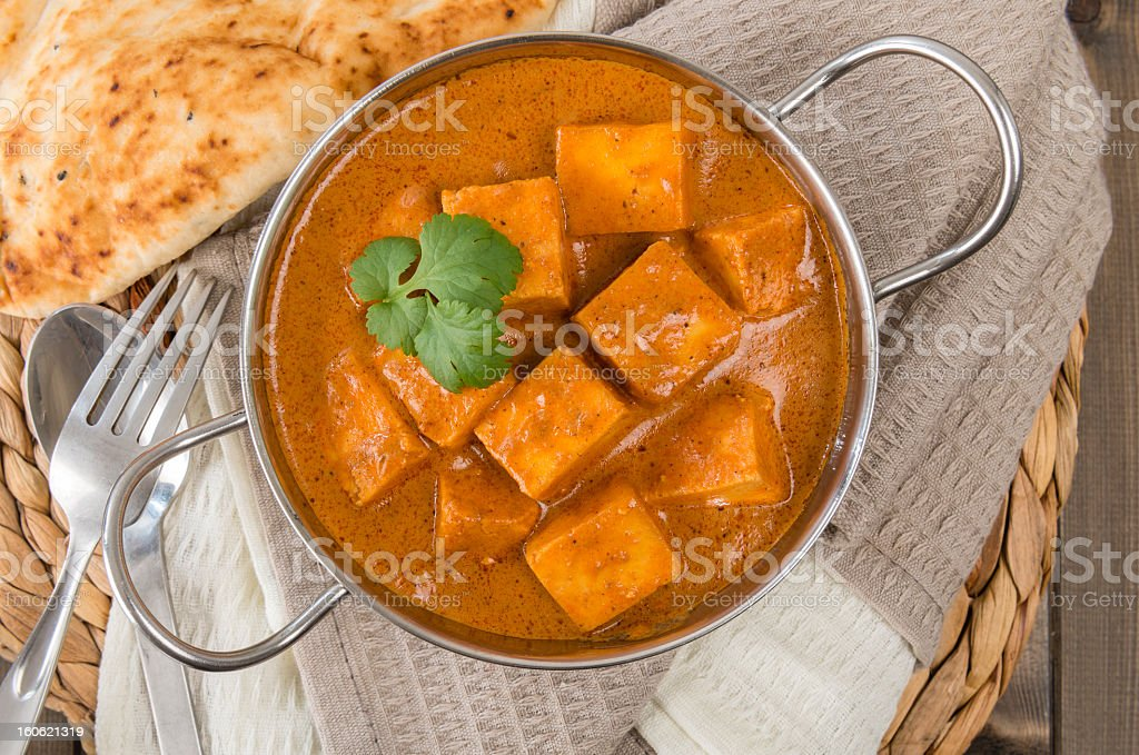 Paneer Makhani soup sitting on a towel stock photo