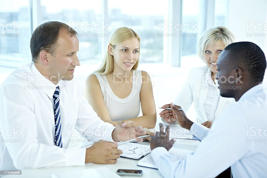 Panel discussion in office royalty-free stock photo