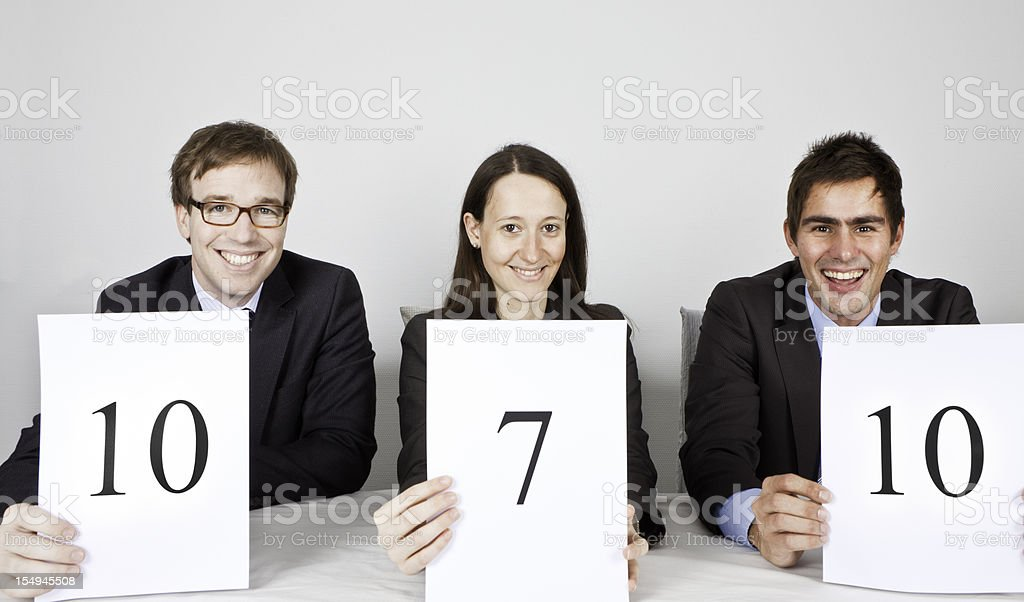 Panel of Judges with very good score! stock photo