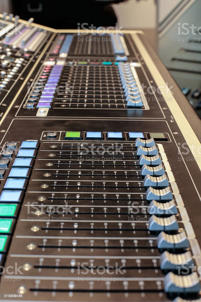 Panel of the stage controller stock photo