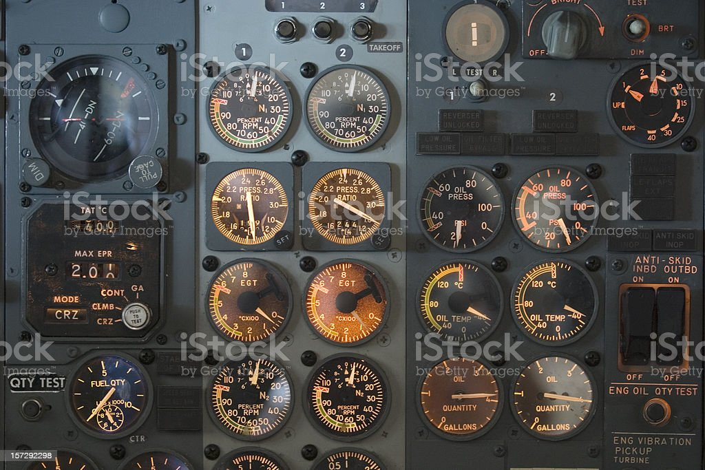 Panel with gauges and dials in an airplane cockpit royalty-free stock photo