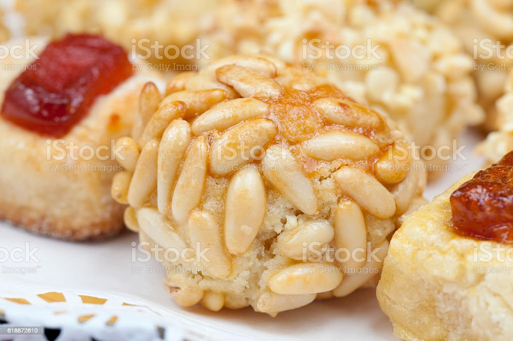 Panellets in assorted tray stock photo