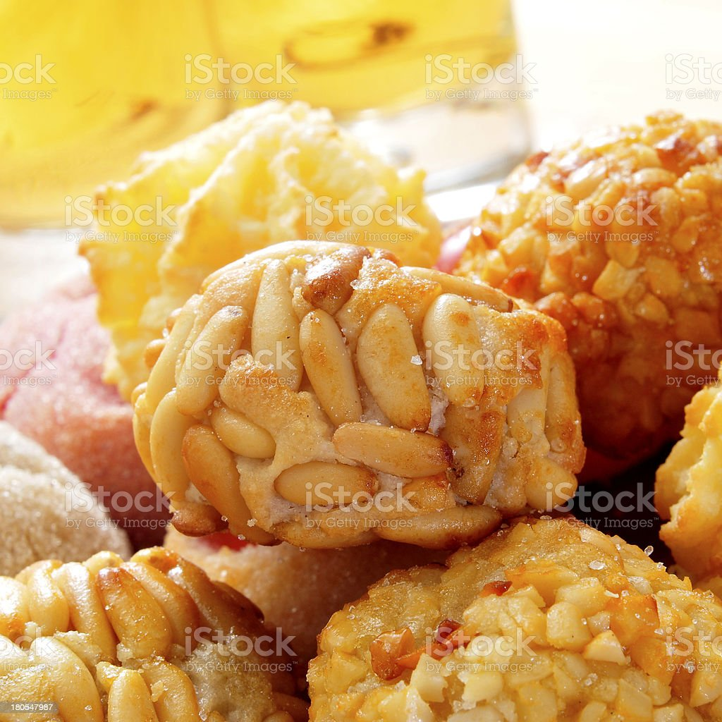 panellets, typical pastries of Catalonia, Spain royalty-free stock photo
