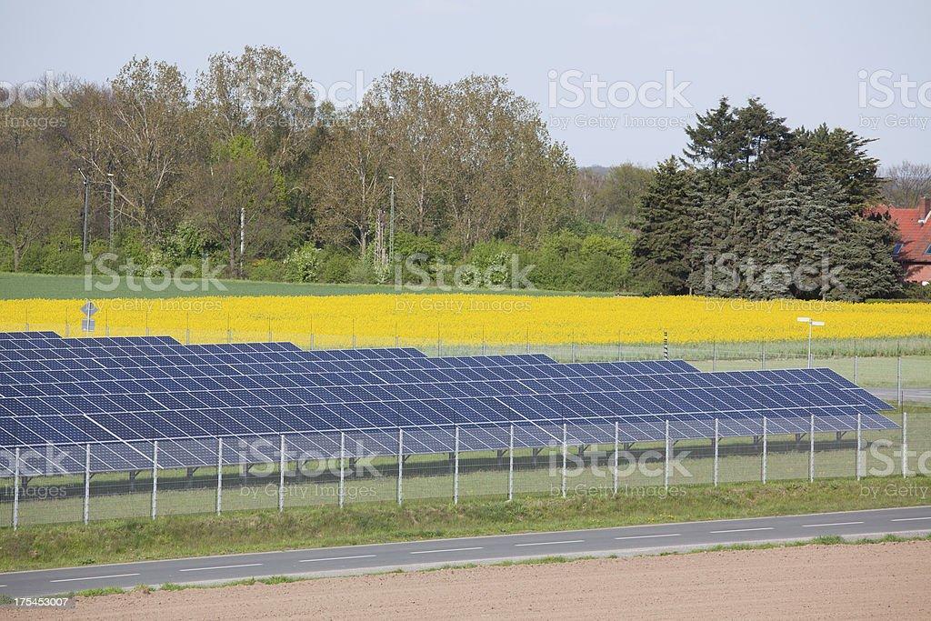 Panels in solar power station stock photo