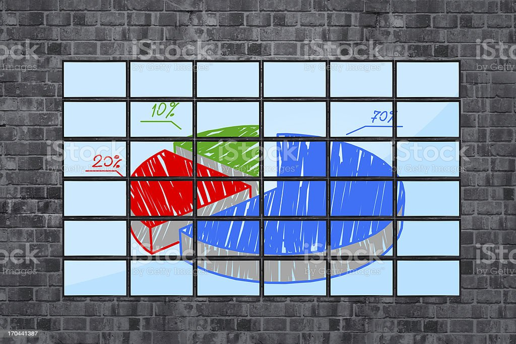 panels with pie chart royalty-free stock photo
