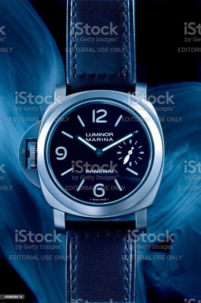 Panerai Luminor Marina left handed wristwatch stock photo