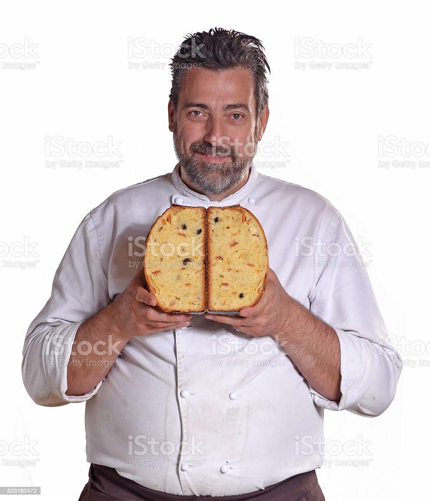Panetone baker. stock photo