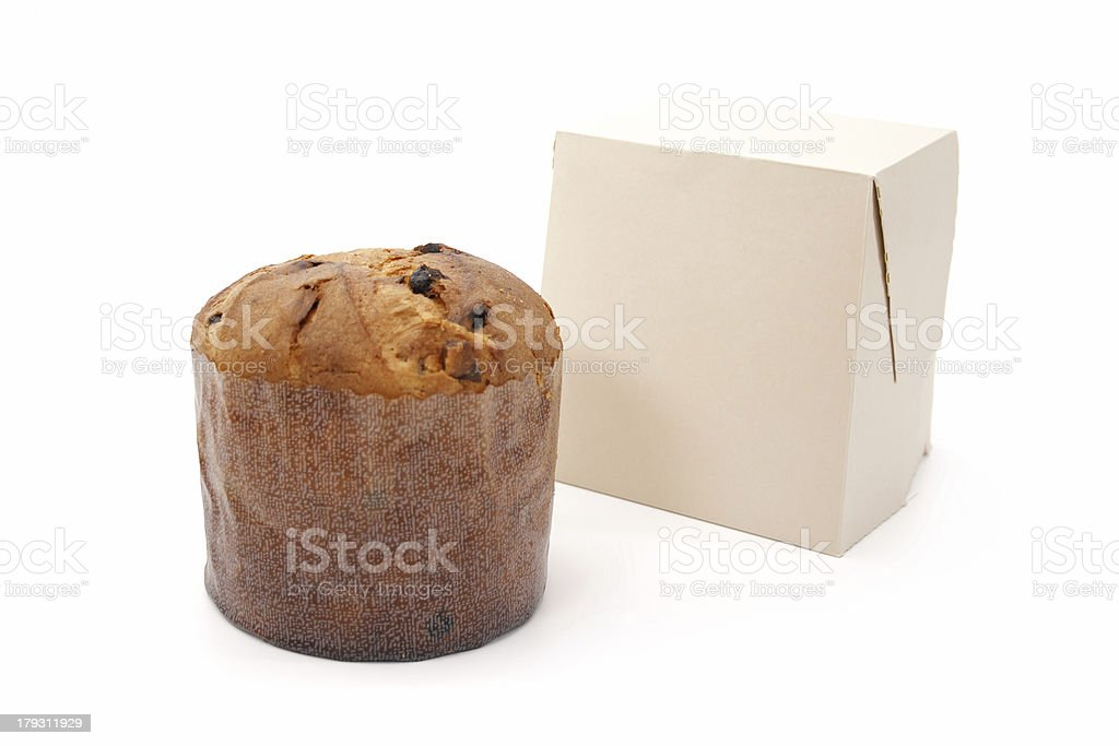 Panettone and box royalty-free stock photo
