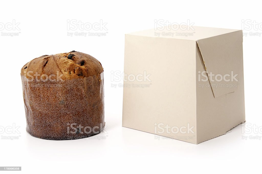 Panettone and its box royalty-free stock photo