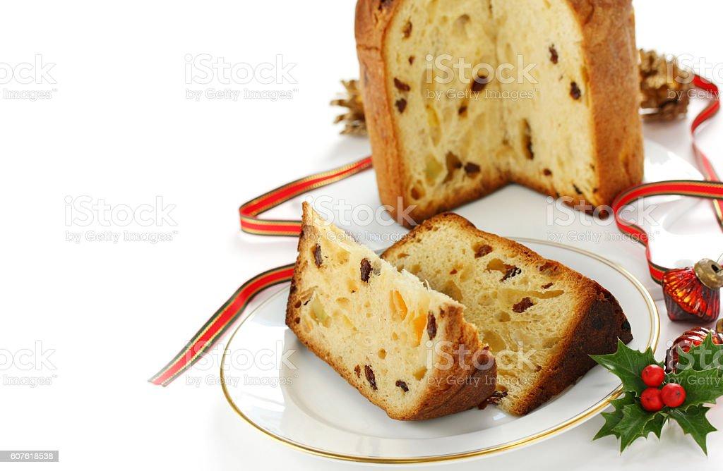 panettone, italian christmas bread stock photo
