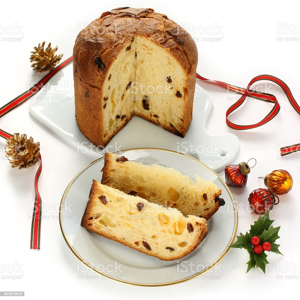 panettone, italian christmas bread stock photo