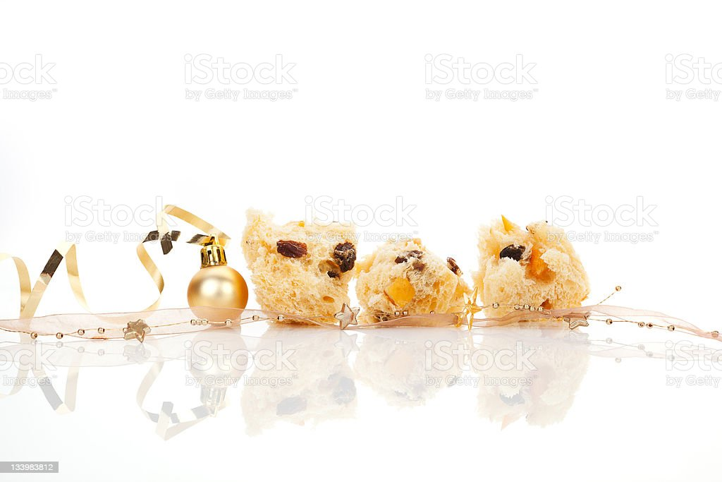 Panettone. Luxurious christmas food background. royalty-free stock photo