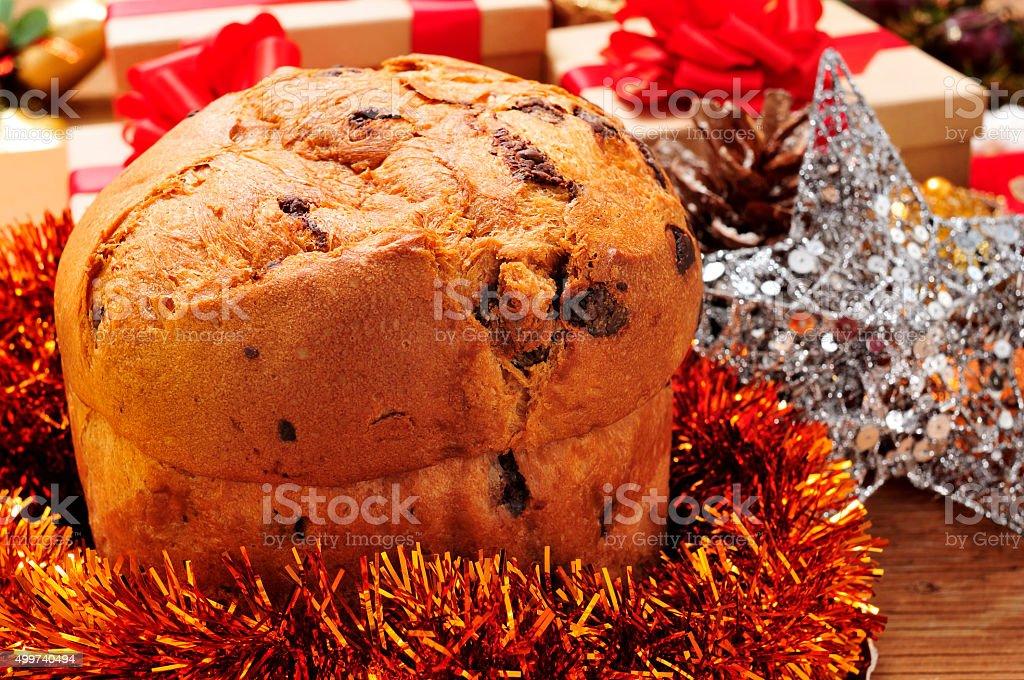panettone on a christmas table stock photo