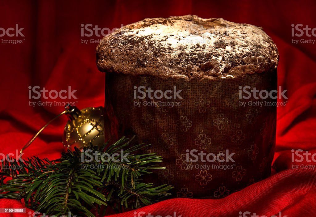 Panettone, traditional homemade sweet bread for Christmas and New Year. stock photo