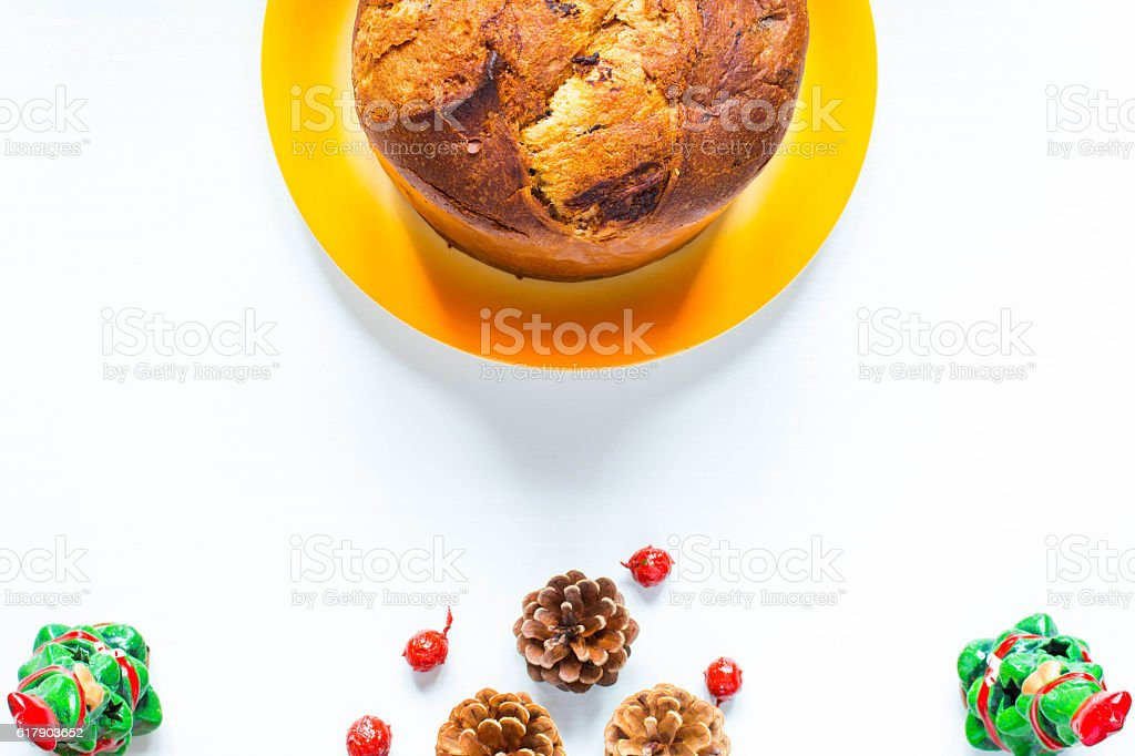 Panettone with chocolate and Christmas decoration stock photo