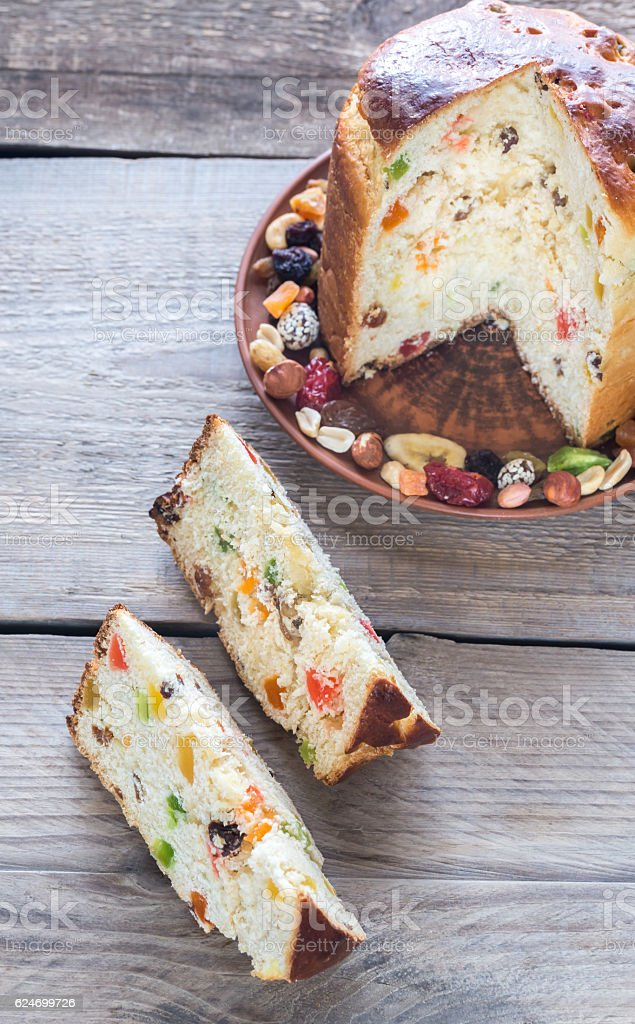 Panettone with dried fruits stock photo