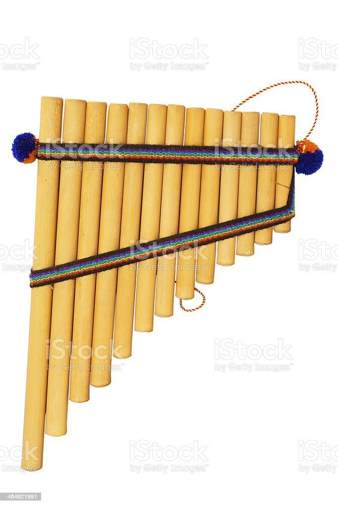 panflute on the white backround stock photo
