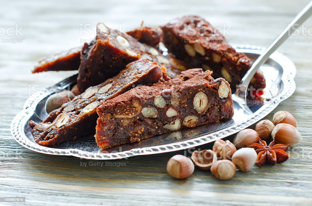 Panforte mocca with dried fruits and hazelnuts stock photo