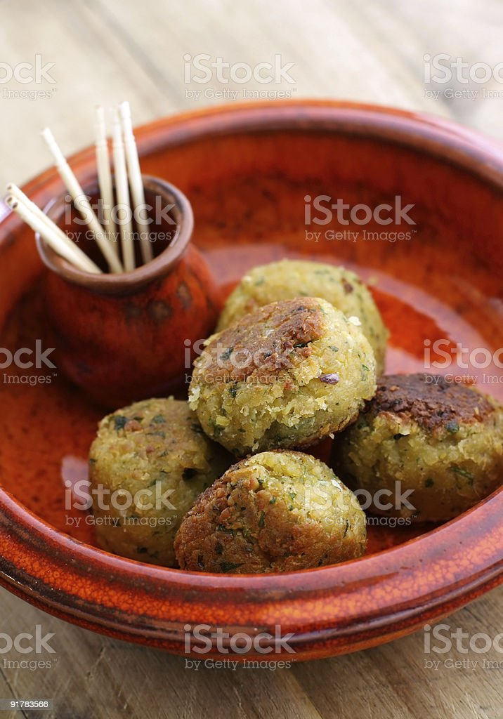pan-fried falafel balls royalty-free stock photo