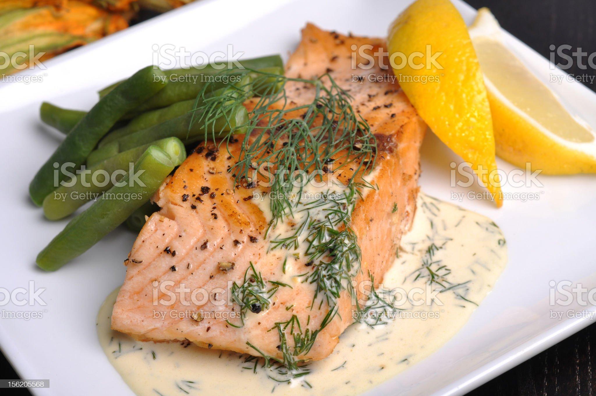 Pan-Fried Salmon royalty-free stock photo