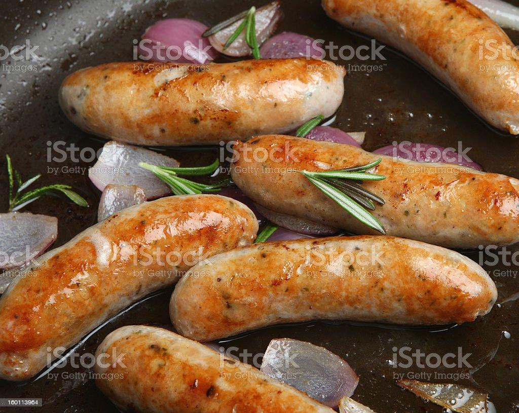 Pan-Fried Sausages stock photo