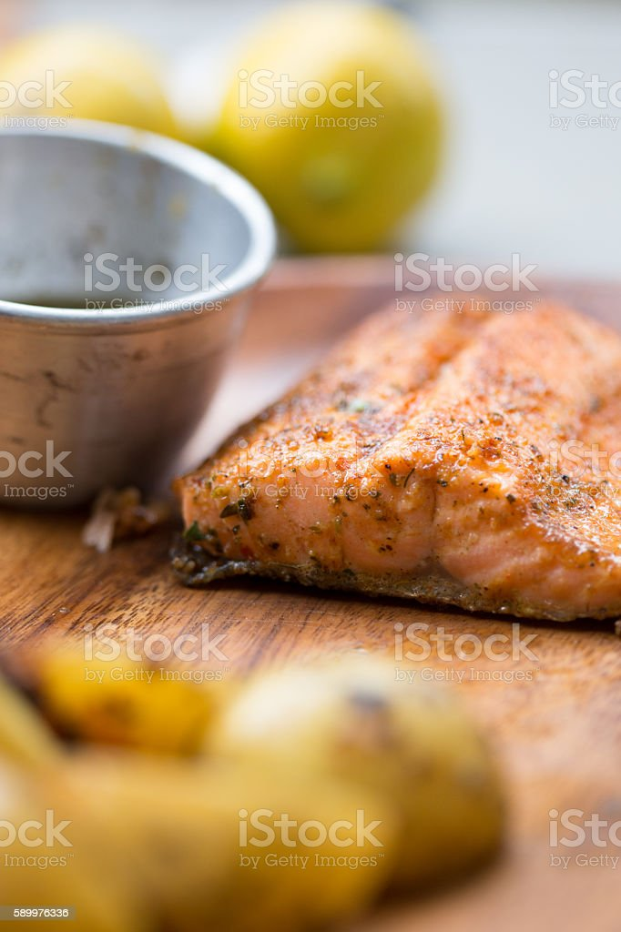 Pan-Fried Trout stock photo