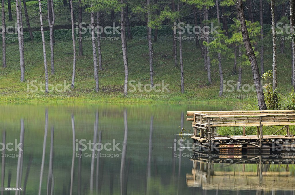 Pang Ung, Beautiful forest lake in the morning royalty-free stock photo