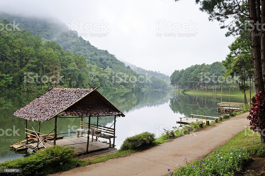 Pang Ung, Beautiful forest lake in the morning stock photo