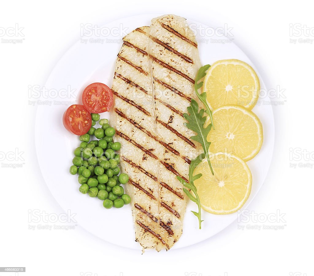 Pangasius fillet on plate. royalty-free stock photo