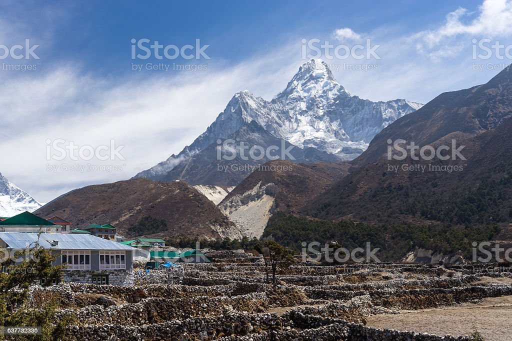 Pangboche village in front of Ama Dablam mountain, Everest regio stock photo