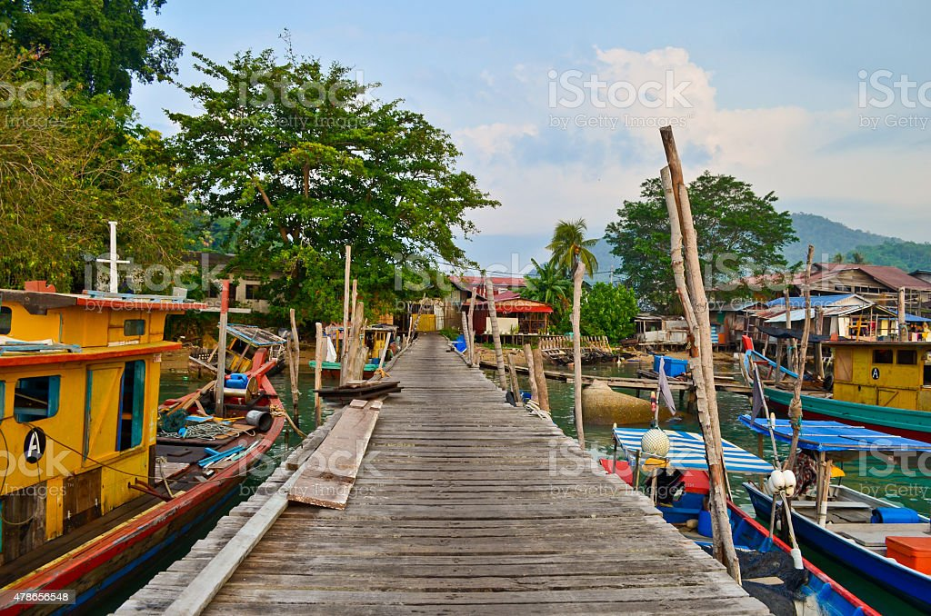 Pangkor Island fishermen Jetty stock photo