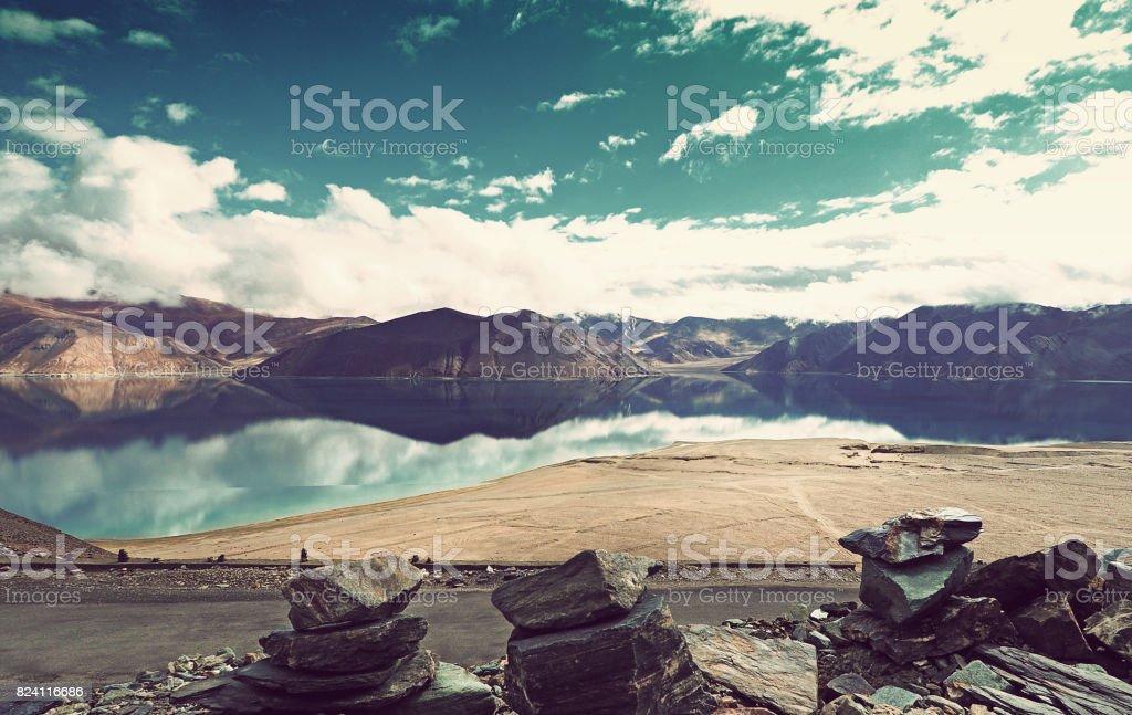 Pangong Lake in Ladakh, North India. stock photo