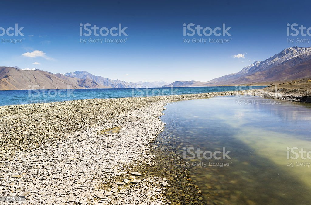 Pangong lake with clear blue sky royalty-free stock photo