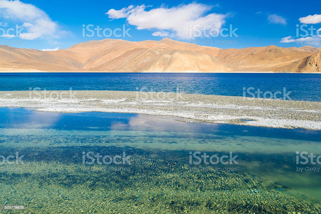 Pangong lake with clear blue sky stock photo