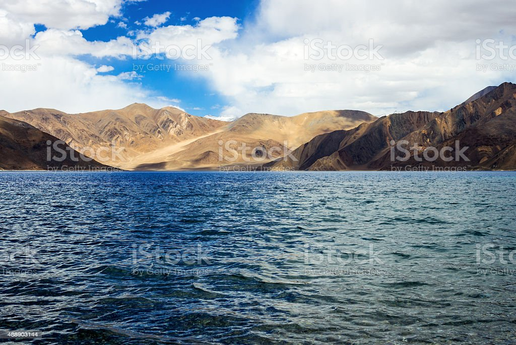 Pangong tso Lake and with Mountains in background stock photo