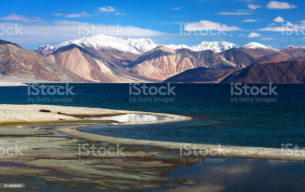 Pangong Tso Lake in Ladakh, India stock photo
