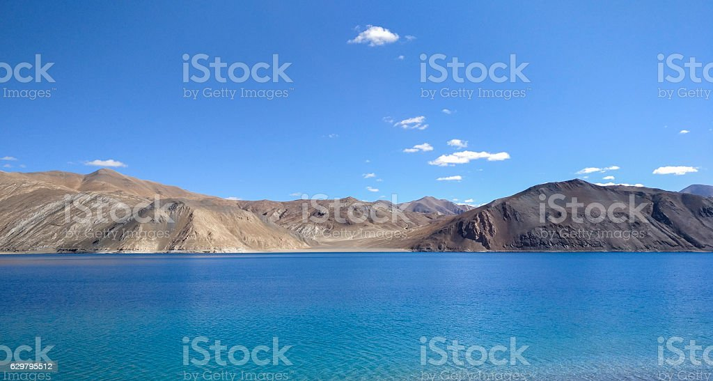 Pangong Tso Lake in Ladakh with Clear Blue Sky stock photo
